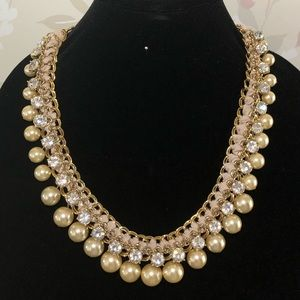 Talbots Pearl, Rhinestone and Ribbon Necklace